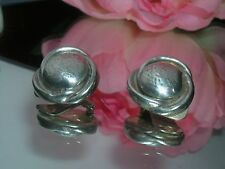 "Beautiful Sterling Silver Vintage Earrings ~ 1"" signed clip on ~ 925 MG"