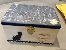 CAT PET IN LOVING MEMORY WOODEN BOX ASHES CREMATION CASKET PERSONALISED GIFT