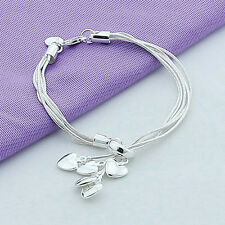 Fashion Women Girls Silver Plated Love Heart Pendant Bracelet Bangle Jewelry New