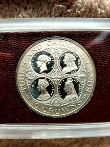 1976 TURKS AND CAICOS ISLANDS QUEEN VICTORIA - 4 BUSTS - 50 CROWNS SILVER PROOF