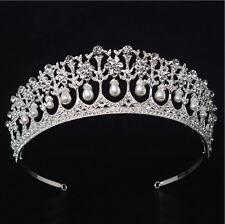 5cm High Large Pearl Crystal Wedding Bridal Party Pageant Prom Tiara Crown
