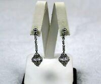 Vintage Silver Tone Filigree Drop Dangle Earrings for Pierced Ears