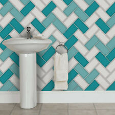 Wallpaper Holden-Chevron Tile paillettes 3d Geometric Kitchen Bathroom Teal 89301