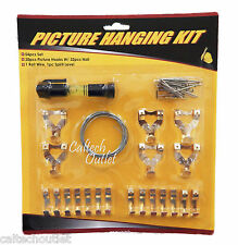 54Pc Wall Picture Frame Hangers Set w/Spirit Level Nails Hanging Wire Hooks