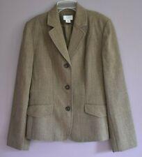 Ann Taylor LOFT Women's 3 Button Blazer Jacket Size 6 Brown 100% Wool Career