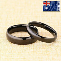 4mm 6mm Polished Black Stainless Steel Wedding Band Ring Mens & Womens Size 5-12