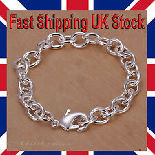 """Ladies 925 Silver Bracelet Chain Link Chunky Charm 8"""" Free Gift Bag"""