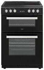 Bush BLC60DBL Free Standing 59.5cm 4 Hob Double Ceramic Electric Cooker - Black.