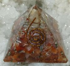Carnelian Natural Stone Orgone Pyramid With Copper- Pyrite 50 MM