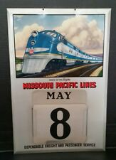 VINTAGE ADVERTISING MISSOURI PACIFIC LINES METAL SIGN PERPETUAL CALENDAR COMPLET