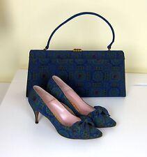 Vintage 1960s matching set blue green silk handbag purse and heels size 7N
