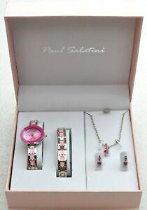 Paul Sabatini Ladies Watch Giftset Necklace Bracelet Earrings SILVER & PINK