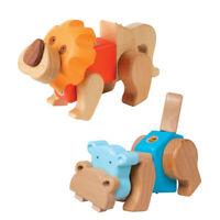 Kreativ-Bausatz Löwe Hippo small foot Nilpferd Holz Klick & Dreh System 9 Teile