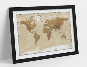 VINTAGE WORLD MAP -ART FRAMED POSTER PICTURE PRINT ARTWORK- BEIGE