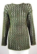 GABRIELLA BENELLI Women Sweater Jumper Mesh Knit Metallic Green Multi Color L XL