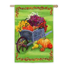 "Wheelbarrow Autumn Fall Satin Reflections Evergreen Large Banner Flag 29""x43"""