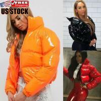 Women's Winter Warm Down Jacket Outerwear Ladies PU Leather Puffer Parka Coat