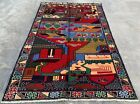 Authentic Hand Knotted Afghan Balouch Pictorial Wool Area Rug 4.5 x 2.10 Ft