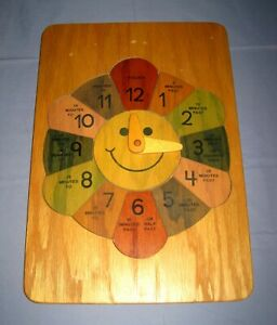 VTG Large Oak & Color Wheel Wood Clock Puzzle Child's Learn to tell Time!
