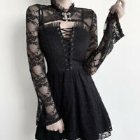 Women Gothic Dress Smock Outfits Clothes Punk Cosplay Costume Lace Black Dress