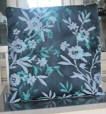 BLACK WITH GREEN AND GREY JACQUARD FLORAL DESIGN CUSHION COVER
