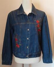 Studio Ease Dark Blue Denim Jacket with Rose Embroidery Size 16 EUC