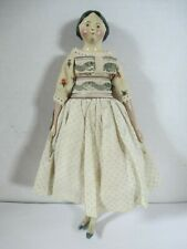Antique Wood Carved Doll with Original Dress 9 Inches Tall