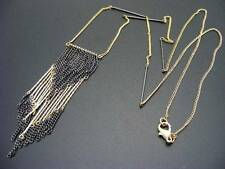 "$18 Stephan & Co Fringe Dangle Gunmetal & Goldtone Chain Necklace 33"" Long"