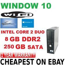 Windows 10 Dell OptiPlex Core 2 DUO 8GB  250 GB DVD RW Tower Desktop PC Computer