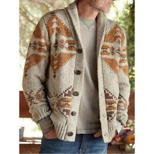 Mens Jacquard Sweater Knitted Cardigan Long Sleeve Coat Knitwear Outwear Tops