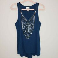 Knox Rose Studded Tank Top Blue Sleeveless Boho Top Shirt V-Neck Embellished M