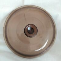 """EUC VISION PYREX CORNING WARE GLASS LID COVER AMBER 9-3/4"""" IN 10-3/4"""" OUT"""