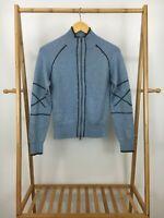 Athleta Women's Merino Wool Blend Full Zip Knitted Blue Sweater Jacket Size S