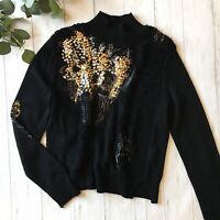 Anthropologie Knitted & Knotted Womens Medium Black Wool Blend Sequin Sweater