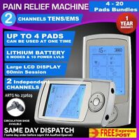 Dual Channel TENS Machine Unit Body Pain Relief Massager Lrg LCD ExtrPAD Bndl 6N