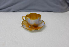 Rare Antique Coalport Demitasse Cup Saucer Flambe Peacock Painted Gilded Gold