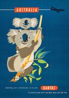 QANTAS 1950s TRAVEL VINTAGE REPRO NEW A2 CANVAS GICLEE ART PRINT POSTER