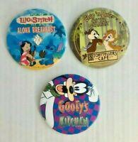 Disney Button Back Pin LOT of 3 Goofy's Kitchen Chip 'n Dale Lilo Stitch