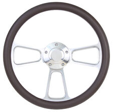 1984-1988 - Ford Cars - Polished Billet & Brown Steering Wheel & Horn!!