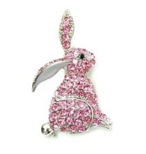 Gorgeous Pink Crystal Bunny Rabbit Pin Brooch For Easter