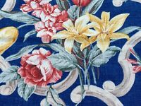 Beachy Cape Cod Cobalt Barkcloth Era Vintage Fabric 1930's Floral Bouquets DIY