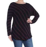 INC International Concepts - Striped Long Sleeve Tunic - Maroon / Black - L
