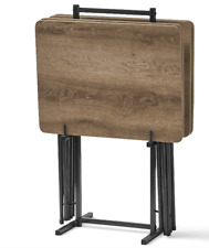 5 Piece Tray Table Set Folding Wood TV Game Snack Dinner Laptop Stand Rustic B