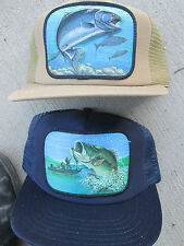 2 Vintage 3D Trucker Fishing Snap Back Mesh Hat Caps 1980's hats Salmon & Bass