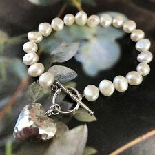 925 Sterling Hammered Silver Heart Toggle Freshwater Hand Knotted Pearl Bracelet