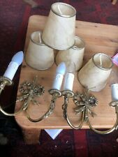 Two Twin Brass Wall lights with Bow Detail Candle Effect & Shades