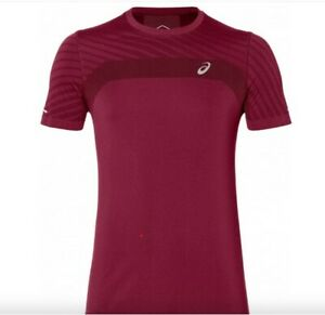 ASICS Men's Seamless Short Sleeve Top Textured Running Gym Clothes 2011A601 Red