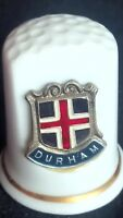 DURHAM NORTHUMBERLAND BANNER CATHEDRAL UNIVERSITY BONE CHINA SOUVENIR THIMBLE