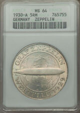"""GERMANY WEIMAR REP 1930-A 5 REICHSMARK """"GRAF ZEPPELIN"""" COIN CERTIFIED ANACS MS64"""