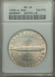 """GERMANY WEIMAR REP 1930-A 5 REICHSMARK """"GRAF ZEPPELIN"""" COIN ANACS CERTIFIED MS64"""
